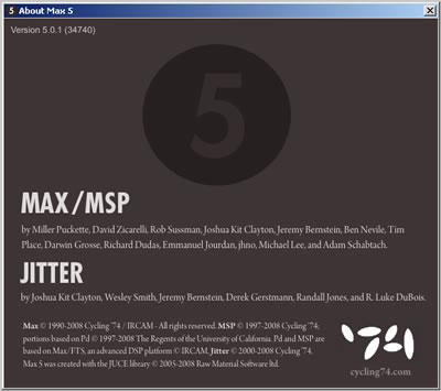 Schermata Max MSP Jitter