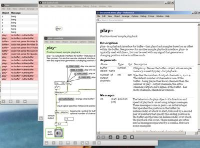 Schermata di esempio di Max 5 con molte finestre aperte