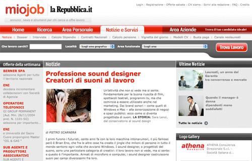 Articolo Professione sound designer Creatori di suoni al lavoro su MioJob