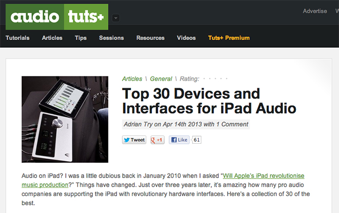 Top 30 Devices and Interfaces for iPad Audio