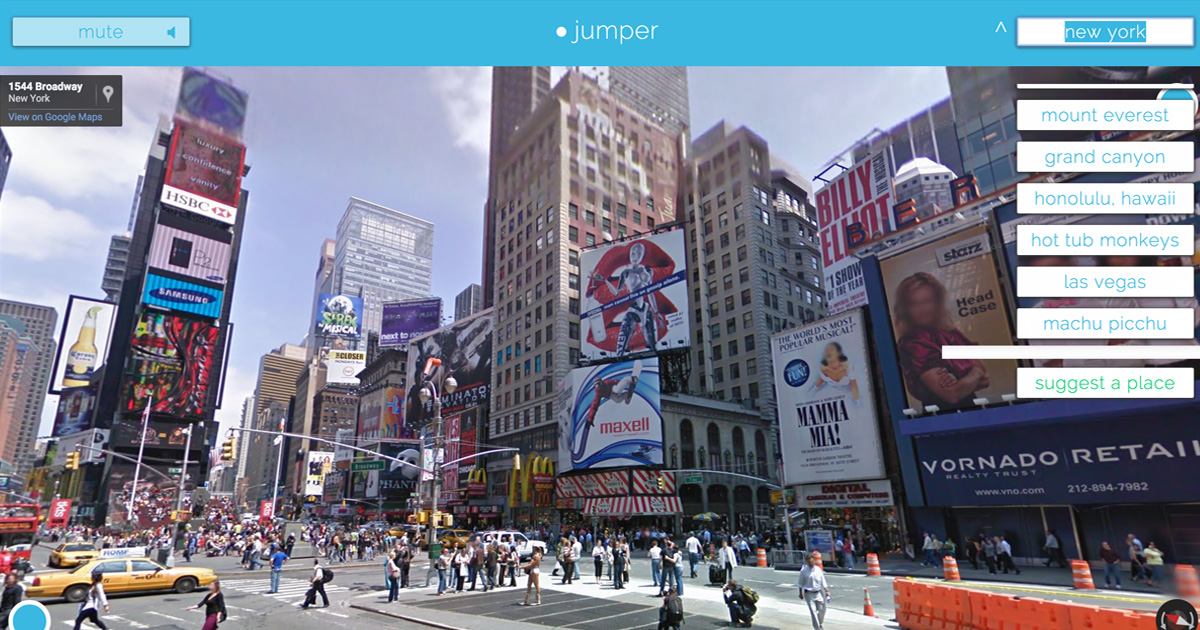 Jumper website built on top of Google Street View
