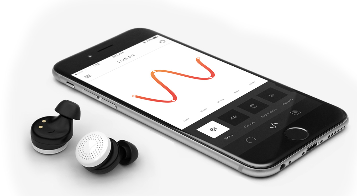 Here Active Listeting: two wireless earbuds and a smartphone app